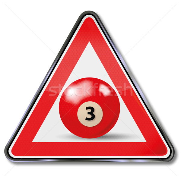 Shield red pool billiard ball number 3 Stock photo © Ustofre9