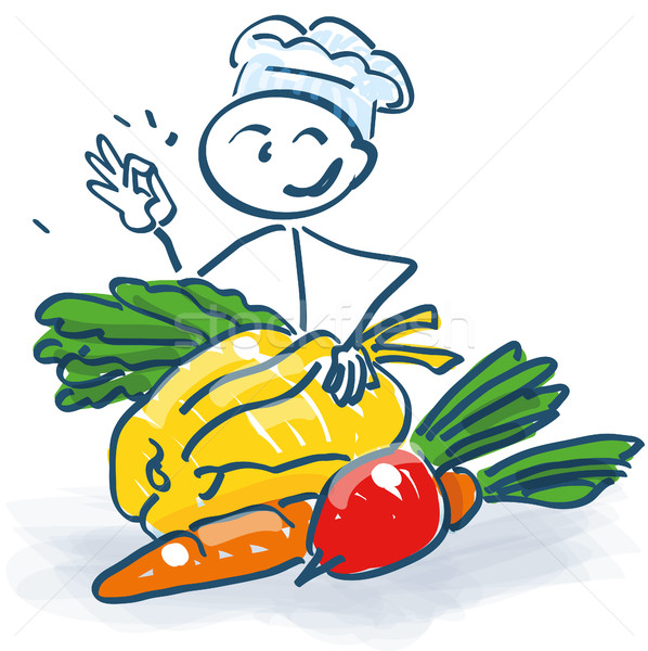 Stock photo: Stick figure as a cook with vegetables