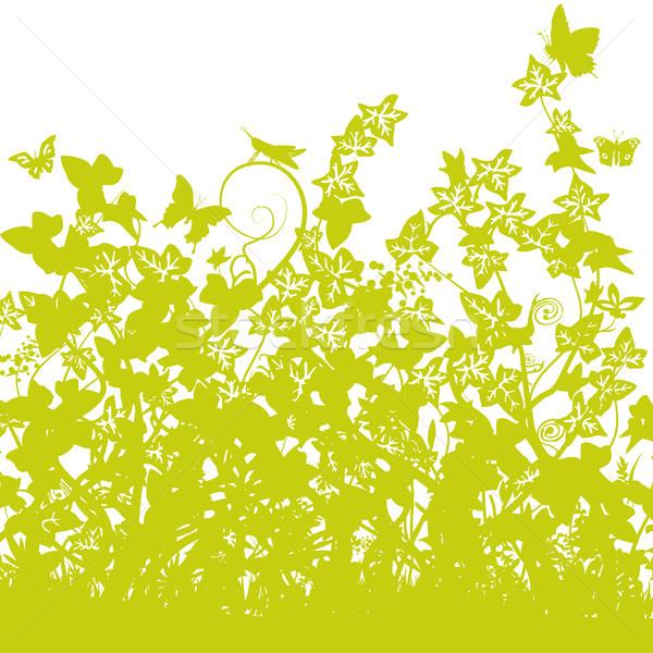 Fű sűrű borostyán virágok természet tájkép Stock fotó © Ustofre9
