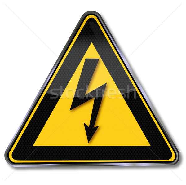 Stock photo: Warning sign power and lightning