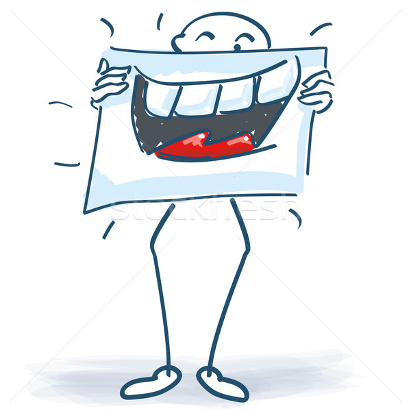 Stick figure with a poster and a broad smile before the body Stock photo © Ustofre9