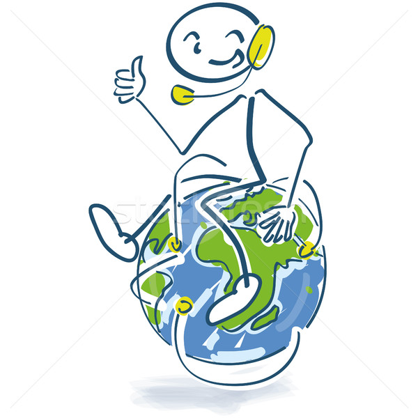 Stick figure sitting on a globe with a headset on Stock photo © Ustofre9