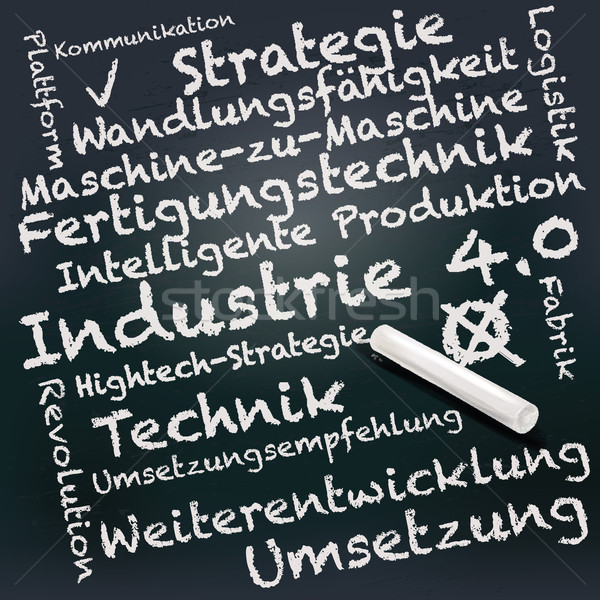 Blackboard and chalk with industry 4.0 Stock photo © Ustofre9