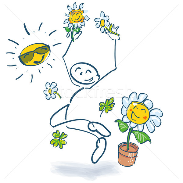 Stick figure and jump in the summer Stock photo © Ustofre9