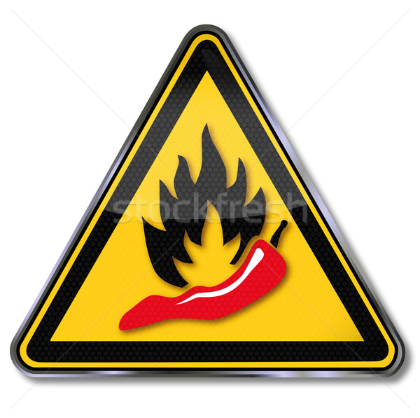Warning sign pepperoni, hot and spicy food Stock photo © Ustofre9