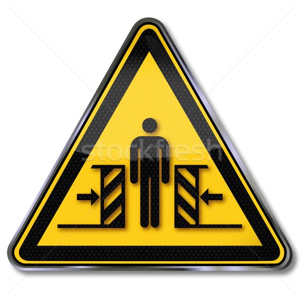 ストックフォト: 危険標識 · 警告 · 法 · 標識 · マシン · キーを押します