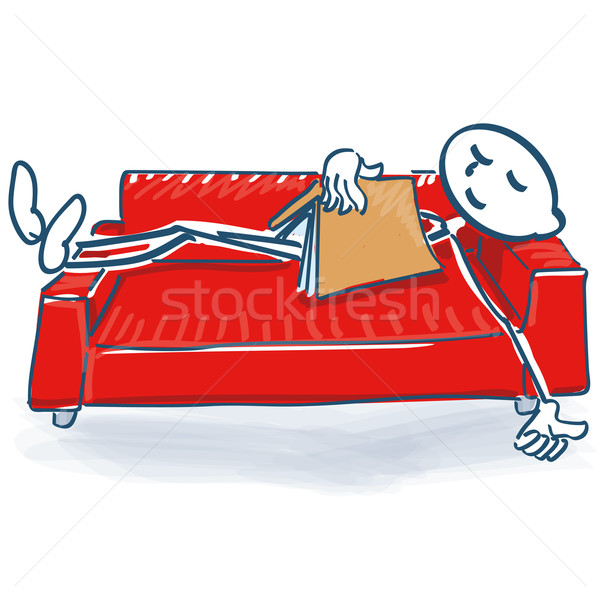 Stick figure with a book sleeping on a sofa bed Stock photo © Ustofre9