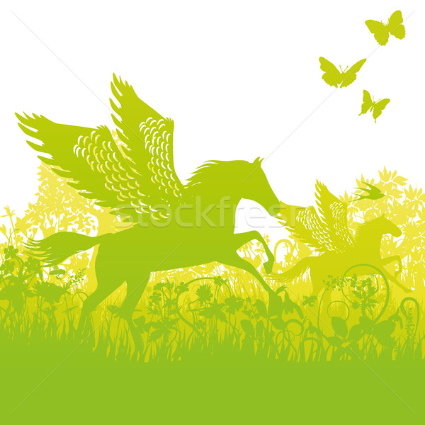 Pegasus with wings in the thicket Stock photo © Ustofre9