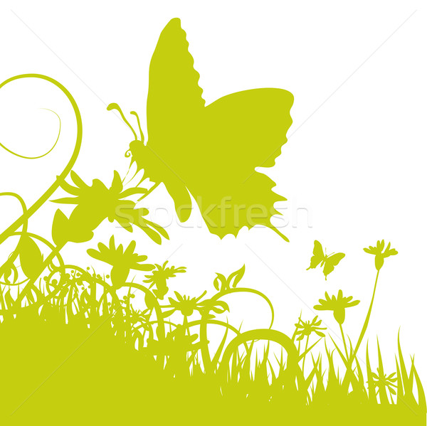ストックフォト: 蝶 · 花 · 草 · 自然 · 風景 · 庭園