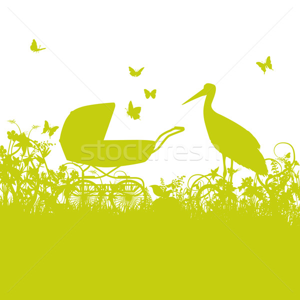 Stork and baby carriage Stock photo © Ustofre9