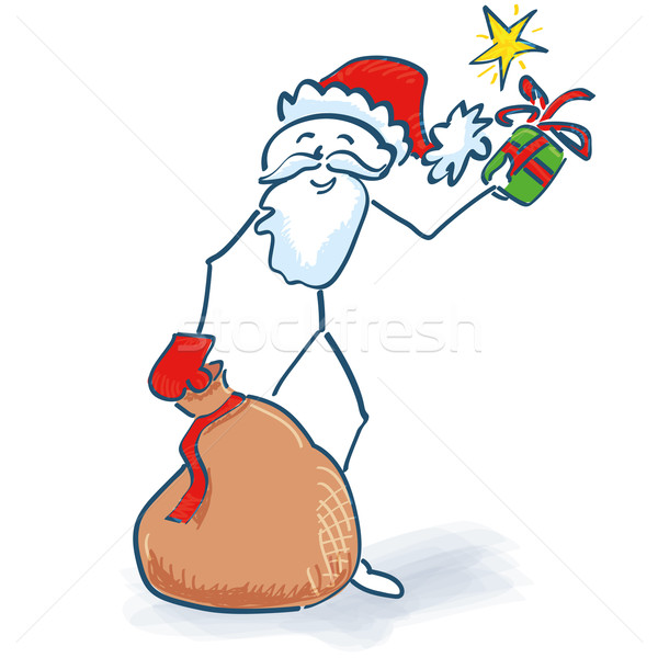 Stick Figure Santa Claus with gifts bag Stock photo © Ustofre9