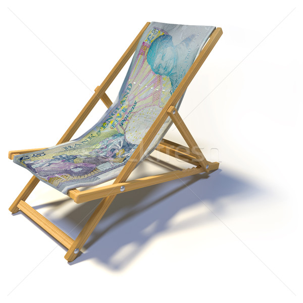 Folding deck chair with five english pounds Stock photo © Ustofre9