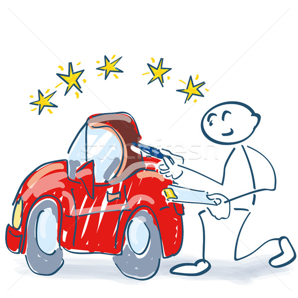 Stick figure with clipboard and checking a car Stock photo © Ustofre9
