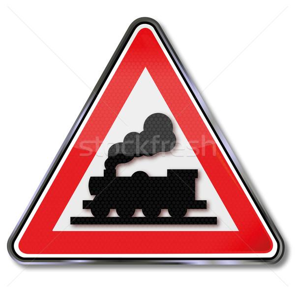 Verkeersbord onbeperkt spoorweg stoomlocomotief verkeer borden Stockfoto © Ustofre9