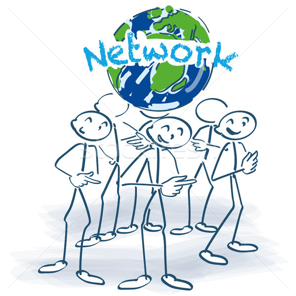 Stick figures and network around the world Stock photo © Ustofre9