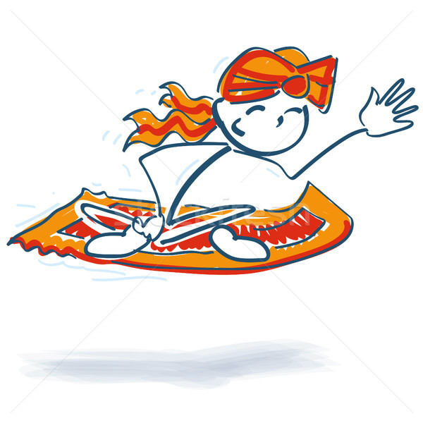 Stick figure on a flying carpet Stock photo © Ustofre9