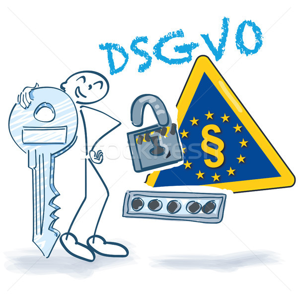 Stick figure with key, password, lock and DSGVO Stock photo © Ustofre9