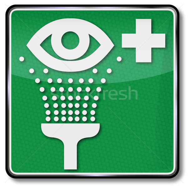 Fire safety sign and accident shield eyewash Stock photo © Ustofre9