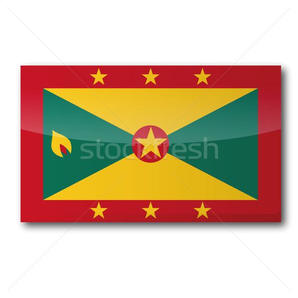 Zászló Grenada térkép vidék térképek gomb Stock fotó © Ustofre9