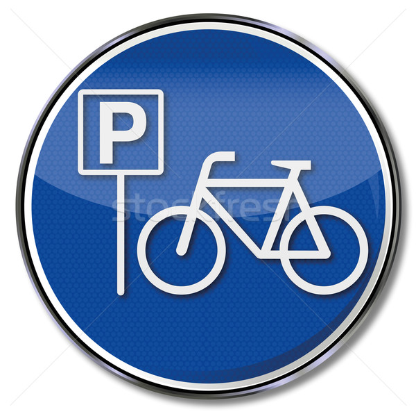 Sign with bicycle and bicycle parking  Stock photo © Ustofre9