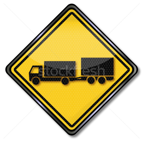 Sign with truck and trailer biaxial Stock photo © Ustofre9