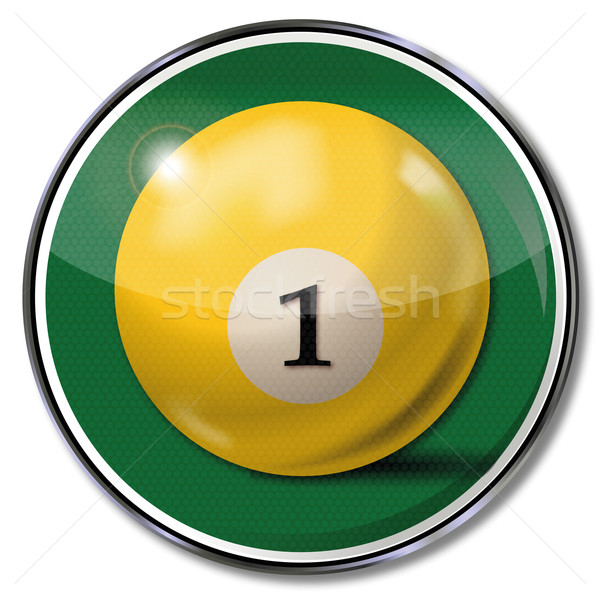 Shield yellow pool billiard ball number 1 Stock photo © Ustofre9