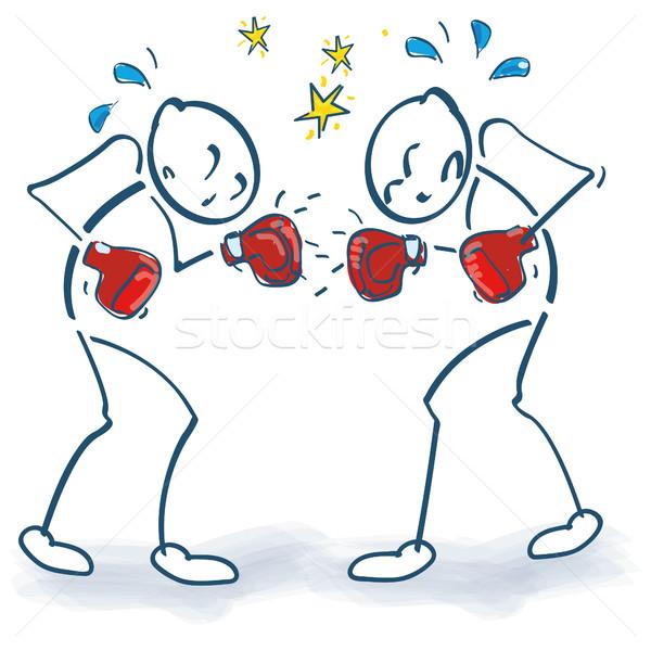 Stick figure Боксер бокса здоровья правосудия подготовки Сток-фото © Ustofre9
