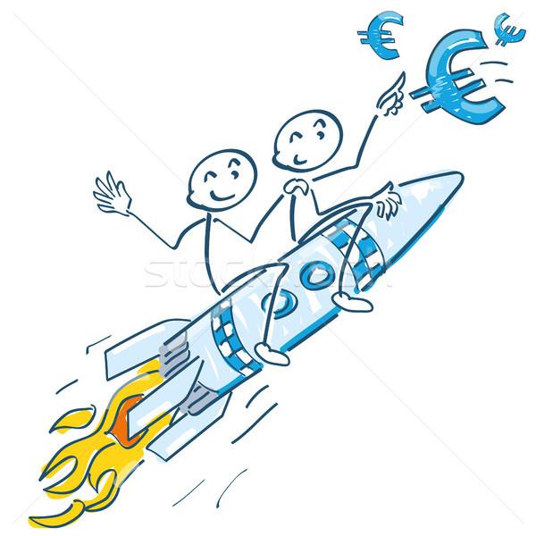 Stick vergadering raket vliegen euro business Stockfoto © Ustofre9