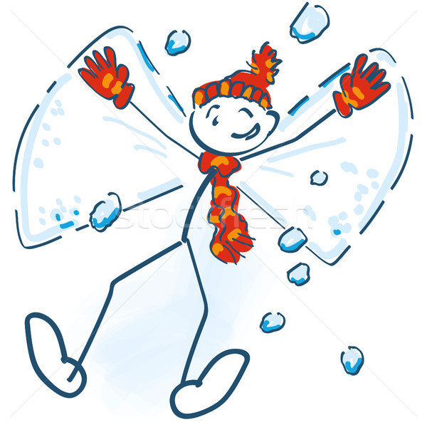 Stick figure lies as a snow angel in the snow and having fun  Stock photo © Ustofre9