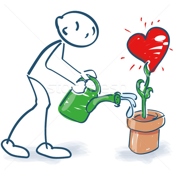 Stick figure waters with a semolina pot a heart in a flowerpot Stock photo © Ustofre9