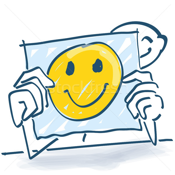 Stick figure behind a note paper and a happy face on it Stock photo © Ustofre9