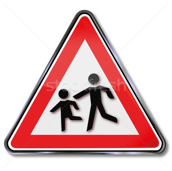 Segnale di traffico cautela bambini palla gioco strada Foto d'archivio © Ustofre9