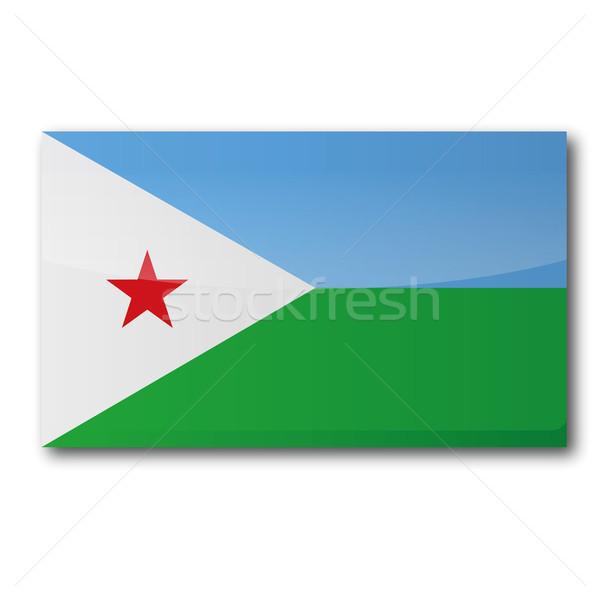 Banderą Dżibuti Pokaż star kraju przycisk Zdjęcia stock © Ustofre9