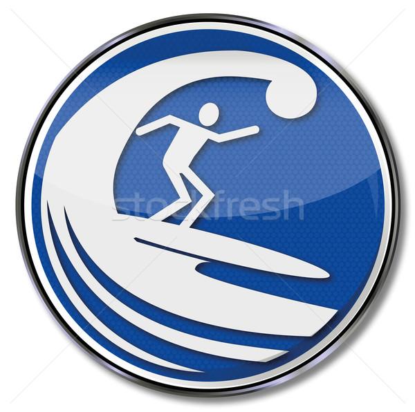 Foto stock: Assinar · surfista · surfe · enorme · onda · esportes