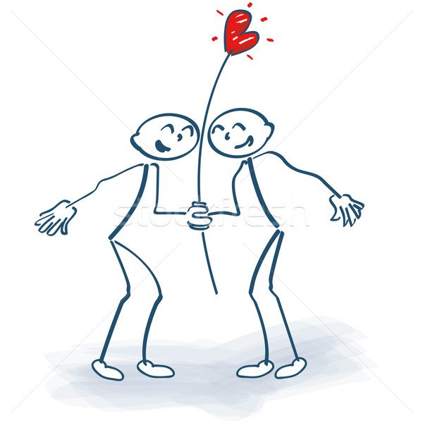 Stick figures as lovers with heart Stock photo © Ustofre9