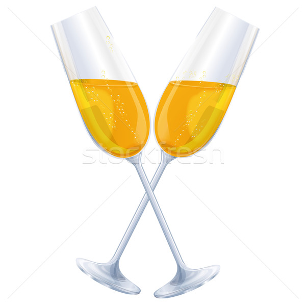 Two glasses of champagne and cheers Stock photo © Ustofre9