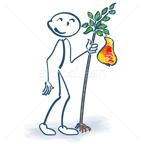 Stick figure with a little pear tree Stock photo © Ustofre9