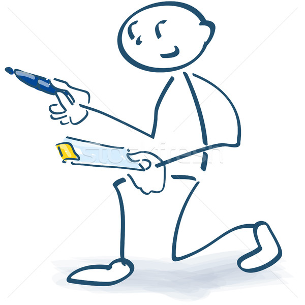 Stick figure with clipboard and check Stock photo © Ustofre9