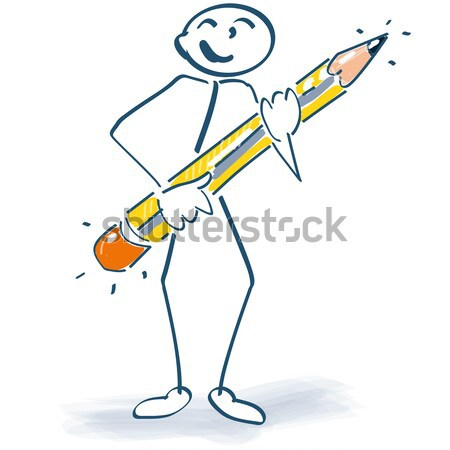 Stick figure with arrows and shield Stock photo © Ustofre9