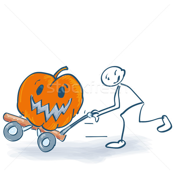 Stick figure harvesting a fat pumpkin with a sackcloth Stock photo © Ustofre9