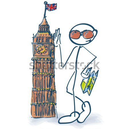 Stick figure as a tourist with leaning tower of Pisa Stock photo © Ustofre9