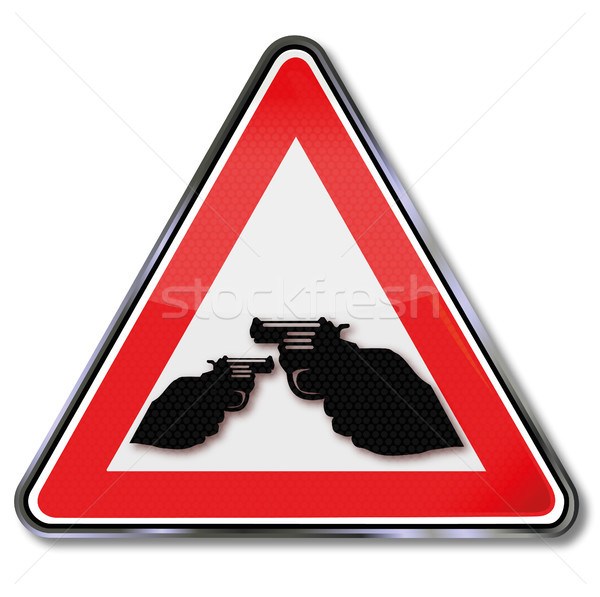 Sign crime and shooting with revolvers Stock photo © Ustofre9
