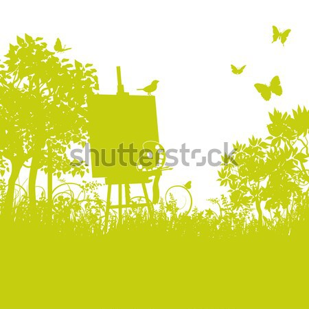 Bird on a watering can in the overgrown garden Stock photo © Ustofre9
