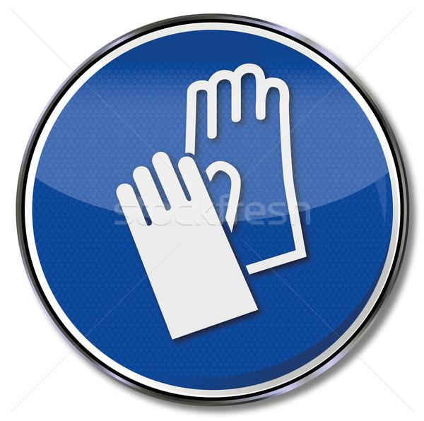 Verplicht teken hand bescherming handschoenen Blauw Stockfoto © Ustofre9
