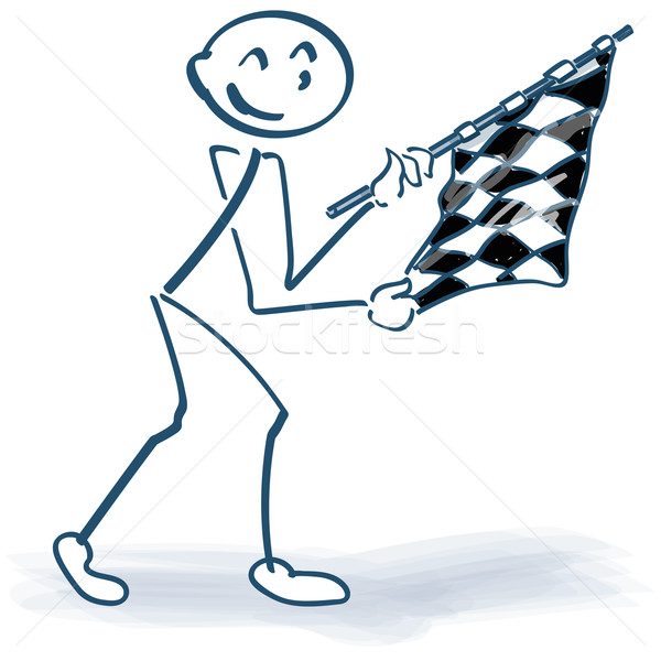 Stick figure with checkered flag  Stock photo © Ustofre9