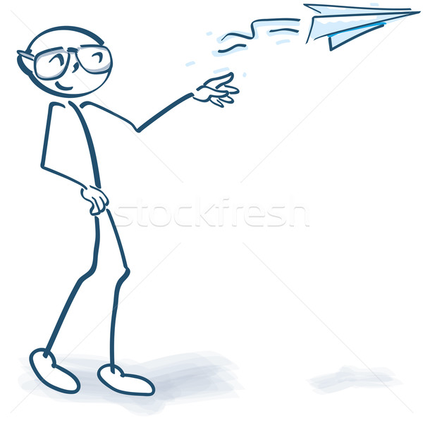 Stick figure with a paper airplane Stock photo © Ustofre9
