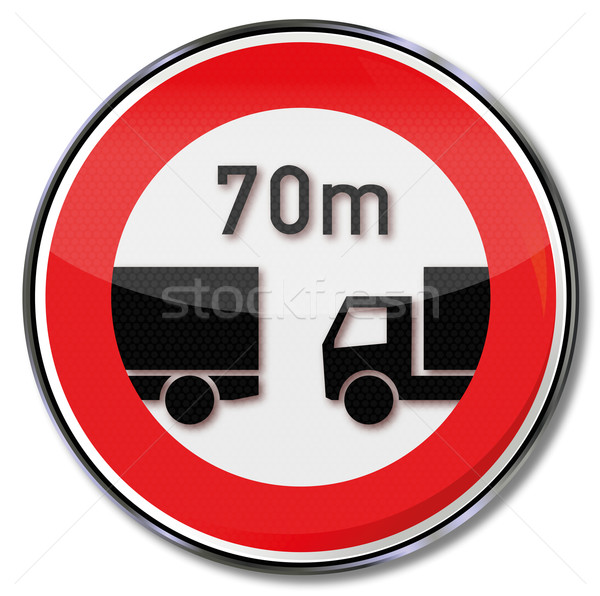 Traffic sign minimum distance of 70 meters for trucks Stock photo © Ustofre9