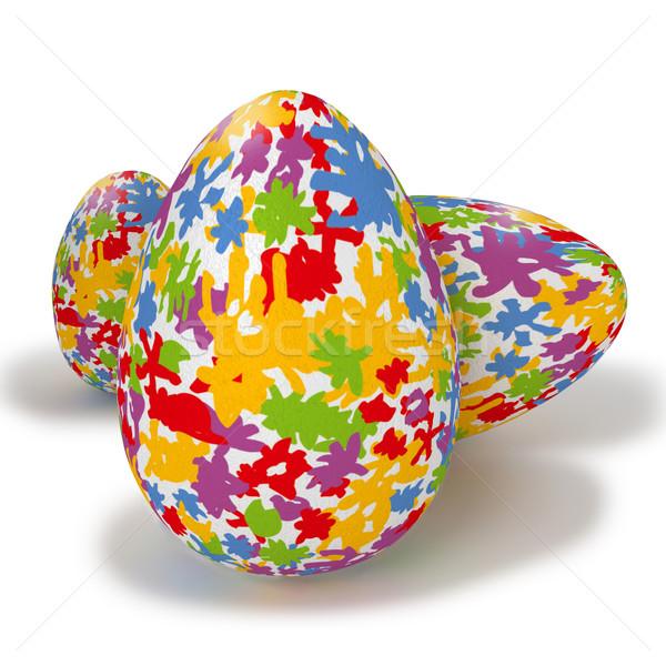 Festett húsvéti tojások színes foltok tavasz boldog Stock fotó © Ustofre9