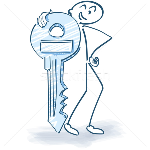 Stick figure with a key Stock photo © Ustofre9