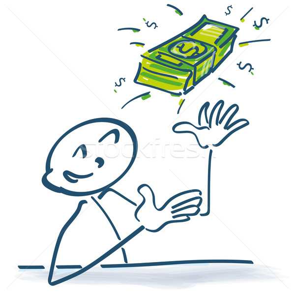 Stick figure with dollar bills in the air Stock photo © Ustofre9